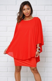 women  Patchwork Bat sleeve midi badycon dress