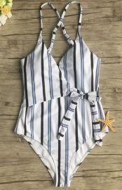 Women Sexy Chest Cross Tie Striped One-piece Swimsuit
