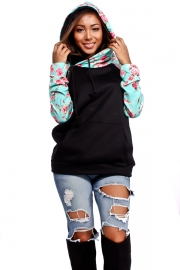 Women Leisure Style Patchwork hoodie With Floral Print