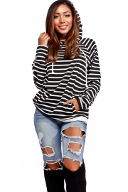 Women Loose Design Hoody With Black And White Stripe
