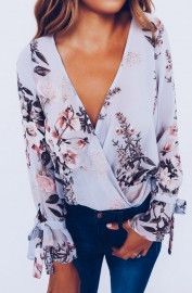 Flowery Print Deep V-neck Chiffon Blouse with Tie