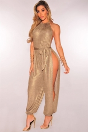 New Slit O-neck Jumpsuits Lace-Up Sleeveless Dress