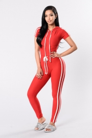 Women  Two Pieces  Striped Sport Style Hoodies and Suits