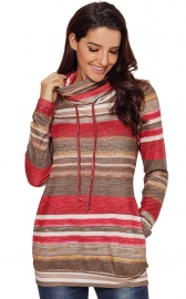 Fashion color stripe turtleneck sweatshirt