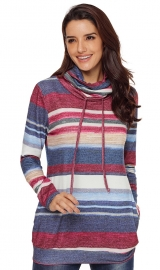 Fashion color stripe turtleneck sweatershirt