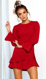 Women fashion ruffle o-neck long sleeve mini dress