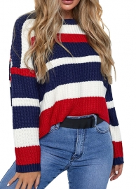 Round Neck Long Sleeve Stitching Loose Sweater Top  Red