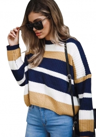 Round Neck Long Sleeve Stitching Loose Sweater Top Yellow