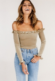 Women Sexy Slash Neck Crop Top With Lace Decorated Apricot