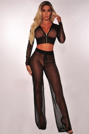 Women Sexy Sheer Crop Hoodie And Trousers Suit