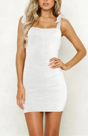 Women Sexy Solid  Sleeveless Bandage Dress Mini Dress White