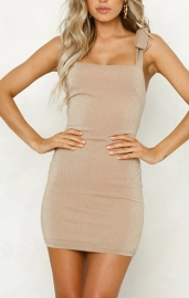 Uhnice Women Sexy Solid  Sleeveless Bandage Dress Mini Dress Gold