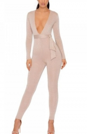 Deep v  Jumpsuit  With Bandage Gold