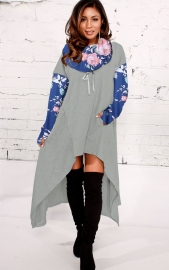 2018 fashion high-low hoodie dress