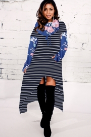 Women Fashion Striped Floral Print High-low Hoodie Dresses Blue