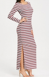 2018 New Style Stiped Long Sleeve Split Dresses