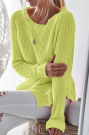 Long Sleeve O-Neck Split Knit weater Tops Green