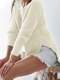 Long Sleeve O-Neck Split Knit weater Tops White
