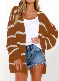 2018 New Fashion Striped Sweater with Pocket Cardigans Brown