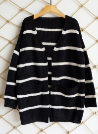 2018 New Fashion Cardigans Striped Sweater with Pocket  Black