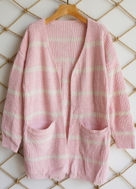 2018 New Fashion Cardigans Striped Sweater with Pocket Pink