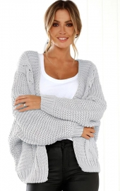Fashion bat-sleeve loose sweater cardigan
