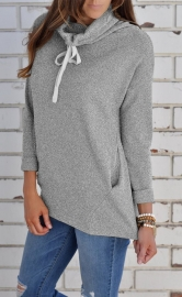 Women Turtleneck Solid Sweatshirt with Pocket