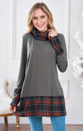 Turtleneck  plaid patchwork Sweatshirt