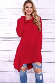 New Fashion Long Sleeve  Solid Hoodies Red
