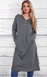 Fashion v-neck high-low hoodie dress