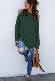 Solid color off-the-shoulder Casual Tops  Green