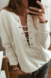 Women Sexy V-Neck Strap Bandage Hoodie Tops