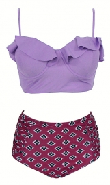 Fashion Retro Boho Flounce Two Pieces High Waist Swimsuit  Purple