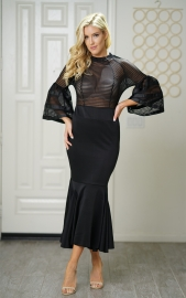 Black transparent bell sleeves Mermaid Dress