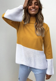 Knitting Turtle Neck Long Sleeve Sweaters Yellow