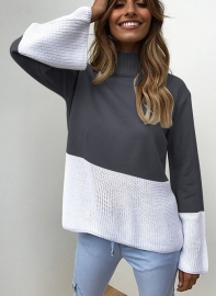 New Fashion Women Knitting  High Neck Sweaters Dark Blue