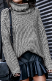 Grey High Neck Sweater for Women