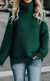 Green High Neck Sweater for Women