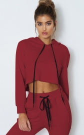 Wine Red Drawstring Short Hoodie