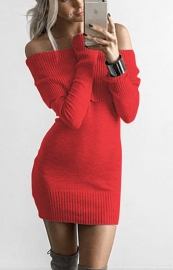 Women Sexy Off the Shoulder Knitting Sweaters Red
