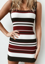 New Arrivals Colorful Striped Knitting Bodycon Dresses Wine Red