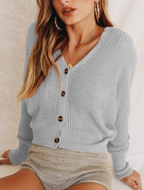 Women Fashion Solid Cardigan with Buttons Gray Sweaters