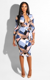 Geometry Printing With Zip In Front Bodycon Dress