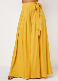 Women Fashion Long Wide Pants with Butterfly Knot Dresses Yellow