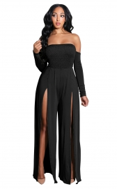 Black Off-Shoulder Long Sleeves Split Jumpsuit