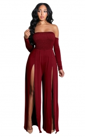 Wine Red Off-Shoulder Long Sleeves Split Jumpsuit