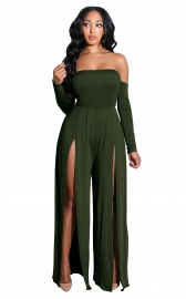 Army Green Off-Shoulder Long Sleeves Split Jumpsuit