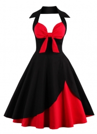 Halter   V Neck   Vintage Mid-waist  Dresses With Butterfly  Knot