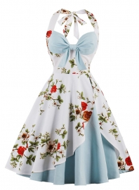Women Halter Neck Floral Print Blue Party Dress