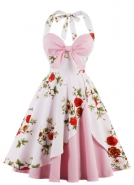 Women Halter Neck Floral Print Pink Party Dress